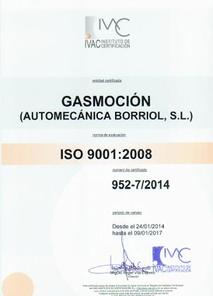 Automecánica Borriol S.L., taller colaborador de Gasmocion con la certificación ISO 9001 de Calidad