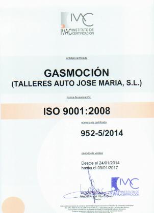 Talleres Auto Jose María, taller colaborador de Gasmocion con la certificación ISO 9001 de Calidad