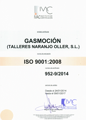 Talleres Naranjo S.L., taller colaborador de Gasmocion con la certificación ISO 9001 de Calidad