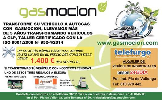 Oferta especial: Transforma tu vehículo a autogas/GLP con Gasmocion Alicante y elige entre tres regalos