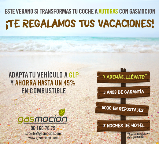 Transforma tu vehículo a autogas GLP con Gasmocion y disfruta de 3 años de garantía, 600€ de descuento en respostajes y además, te regalamos tus vacaciones